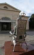 Skulptur vor der Wandelhalle, Bad Kissingen, Franken, Bayern, Deutschland