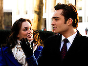 Leighton Meester and Ed Westwick appear on the set as Gossip Girls tapes in Lincoln Center in New York City on December 1, 2009.