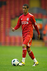 LIVERPOOL, ENGLAND - Thursday, May 5, 2011: Liverpool's Thomas Ince in action against Manchester United during the FA Premiership Reserves League (Northern Division) match at Anfield. (Photo by David Rawcliffe/Propaganda)