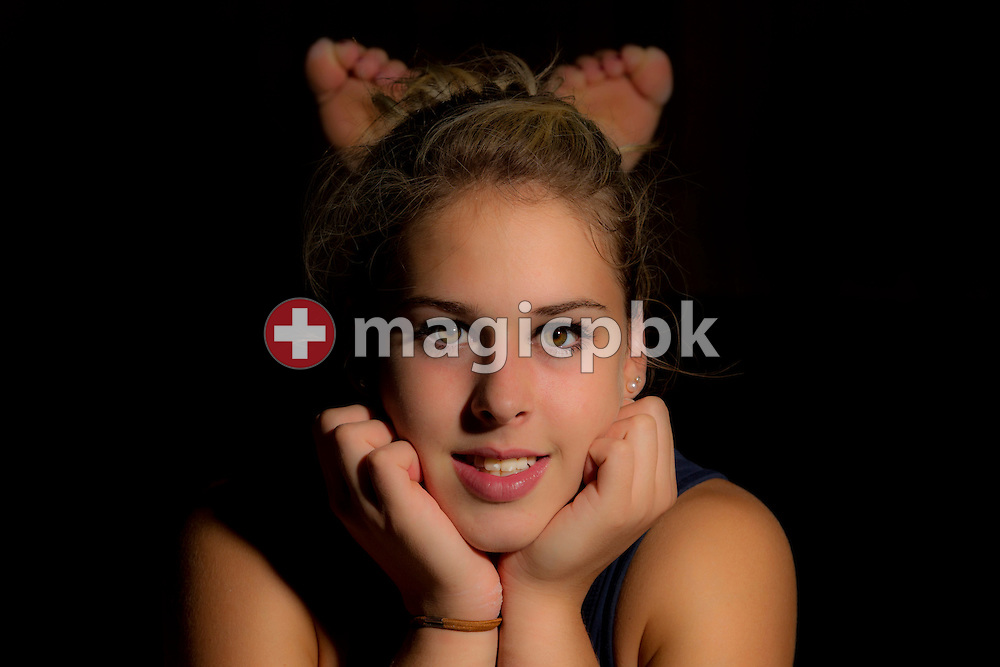 Artistic gymnastics athlete Giulia STEINGRUBER of Switzerland is pictured during a portrait session in a gym at the Federal College of Sports Magglingen in Magglingen in the canton of Berne, Switzerland, Monday, Aug. 29, 2011. (Photo by Patrick B. Kraemer / MAGICPBK)