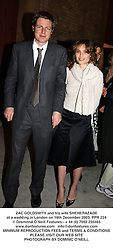 ZAC GOLDSMITH and his wife SHEHERAZADE at a wedding in London on 16th December 2003.PPR 224