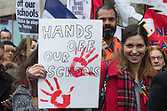 Accusing the government of privatising education via the back door, hundreds of teachers march against education secretary Nicky Morgan's proposal that all schools are turned into academies.<br /> Picture by Paul Davey/Focus Images Ltd +447966 016296<br /> 23/03/2016