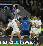 Twickenham, Great Britain, Yoann HUGET, collect the high ball, during the Six Nations Rugby England vs France, played at the RFU Stadium, Twickenham, ENGLAND. <br /> <br /> Saturday   21/03/2015<br /> <br /> [Mandatory Credit; Peter Spurrier/Intersport-images]