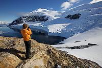 Russell Laman overlooking <br />Neko Harbor, Andvord Bay, Antarctica