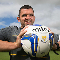 St Johnstone FC assistant manager Callum Davidson pictured at training this morning where he is preparing the team for Thursday's Europa League qualifier against Spartak Trnava in the abscenece of a manager Tommy Wright whose mother sadly passed away...29.07.14<br /> Picture by Graeme Hart.<br /> Copyright Perthshire Picture Agency<br /> Tel: 01738 623350  Mobile: 07990 594431