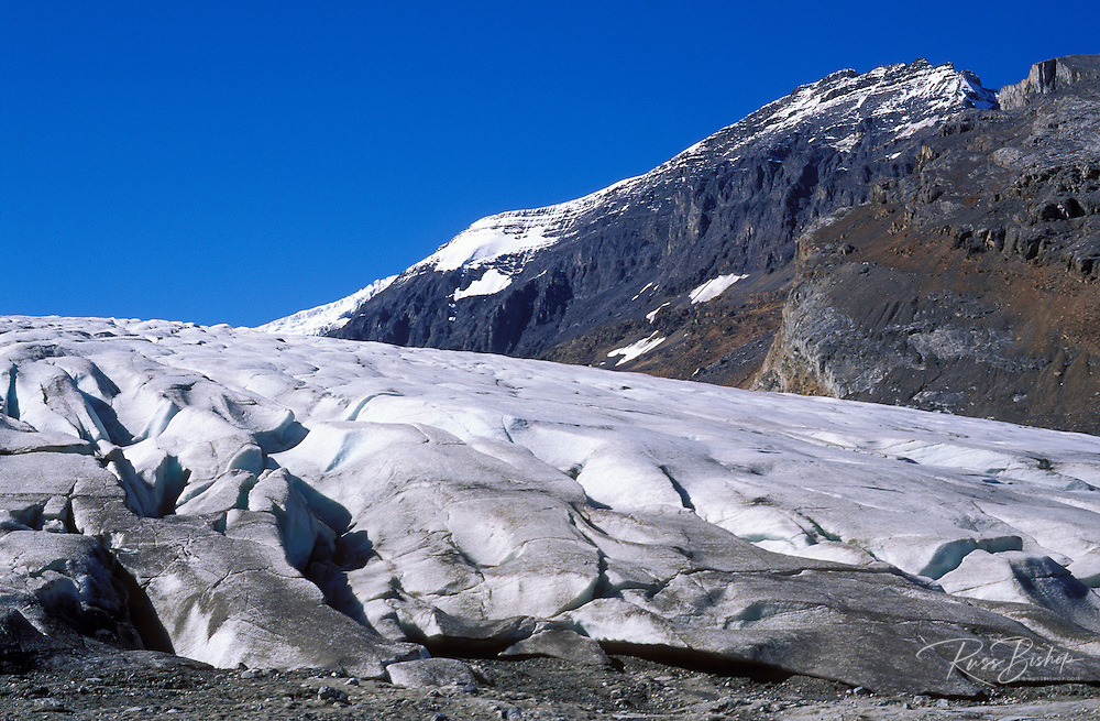 Crevasse detail at the toe of the Athabasca Glacier, Columbia Icefields area, Jasper National Park, Alberta, Canada