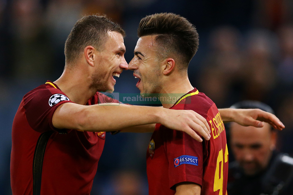 October 31, 2017 - Rome, Italy - Stephan El Shaarawy and Edin Dzeko of Roma celebrating  during the UEFA Champions League football match AS Roma vs Chelsea on October 31, 2017 at the Olympic Stadium in Rome. (Credit Image: © Matteo Ciambelli/NurPhoto via ZUMA Press)