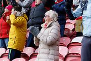 Middlesbrough fans celebrating the own goal scored by Derby County defender Jayden Bogle (37)  during the EFL Sky Bet Championship match between Middlesbrough and Derby County at the Riverside Stadium, Middlesbrough, England on 27 October 2018.