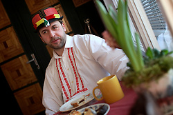 CZECH REPUBLIC MORAVIA BANOV 2APR18 - Jan Chovanec during breakfast prior to Easter celebrations in the village of Banov, Moravia. <br /> <br /> jre/Photo by Jiri Rezac<br /> <br /> © Jiri Rezac 2017