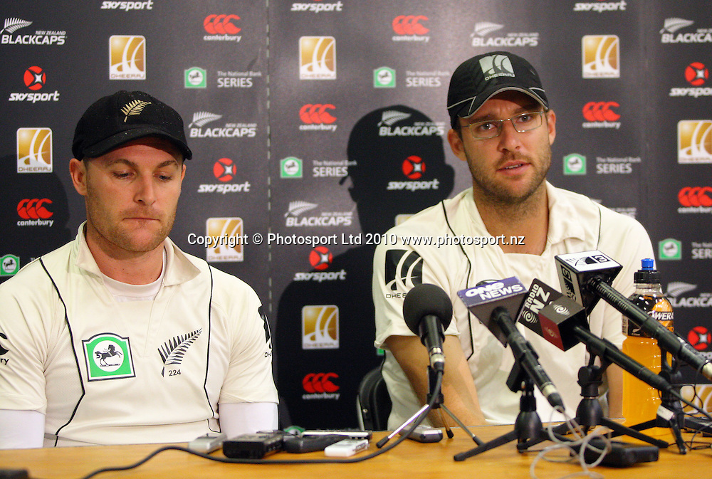 NZ's Brendon McCullum and Daniel Vettori after the loss.<br /> 1st cricket test match - New Zealand Black Caps v Australia, day five at the Basin Reserve, Wellington. Tuesday, 23 March 2010. Photo: Dave Lintott/PHOTOSPORT
