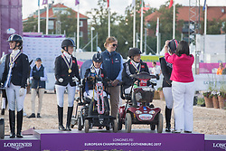Team Great Britain, Wells Sophie, Frances Orford Erin, Hext Suzanna, Payne Julie<br /> FEI European Para Dressage Championships - Goteborg 2017 <br /> &copy; Hippo Foto - Dirk Caremans<br /> 22/08/2017,