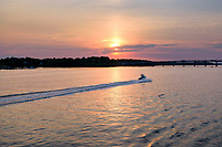 A speedboat travels on the Severn River near Annapolis, Maryland.