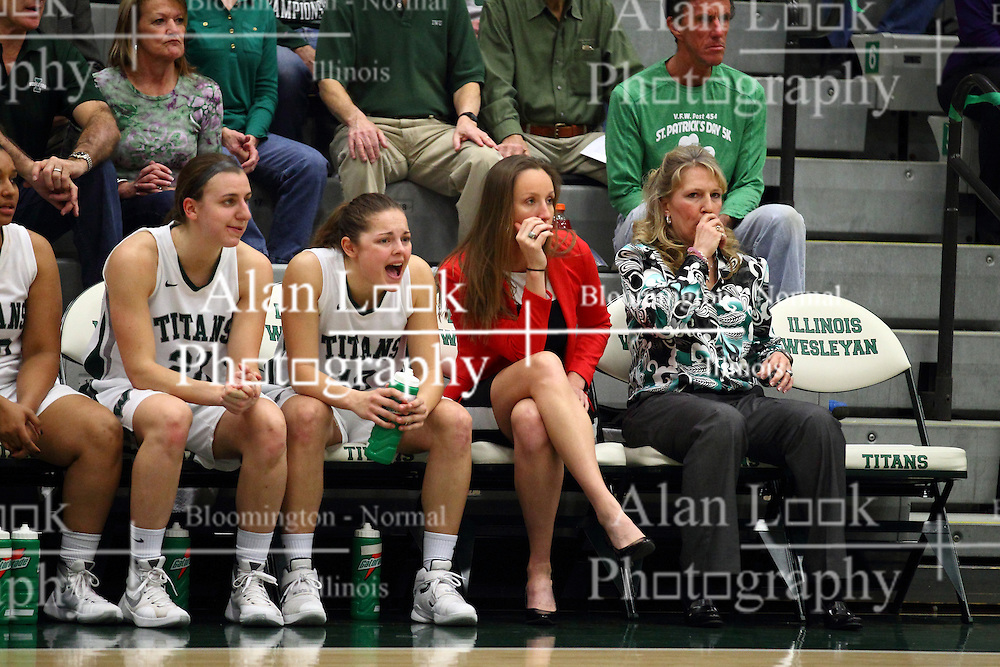 20 February 2016:  Alina Lehocky, Gabby Weber, Olivia Lett and Mia Smith during an NCAA women's basketball game between the Elmhurst Bluejays and the Illinois Wesleyan Titans in Shirk Center, Bloomington IL