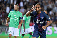 Brazilian midfielder Lucas Moura of Paris Saint Germain celebrates scoring a goal for his team during the French Championship Ligue 1 football match between Paris Saint-Germain and AS Saint Etienne on September 9, 2016 at Parc des Princes stadium in Paris, France - Photo JMH / DPPI