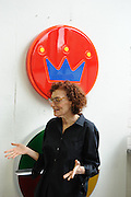 Artist Beverly Fisherman at her studio at Cranbrook Academy of Art in Bloomfield Hills near Detroit, Michigan, USA. Her art work often depict large pharmaceutical or illegal pills and drugs.<br /> <br /> Art in Detroit 2013<br /> &copy; Stefan Falke<br /> www.stefanfalke.com