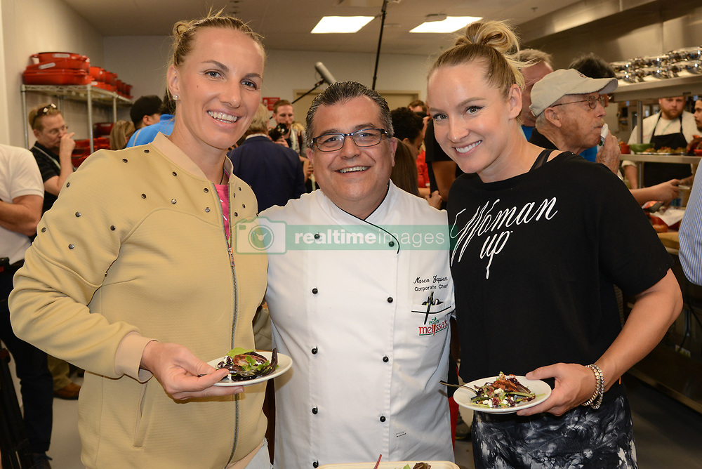 March 7, 2017 - Indian Wells, California, United States - SVETLANA KUZNETSOVA, MARCO ZAPIEN and BETHANIE MATTEK-SANDS at a media event promoting the dining options at the BNP Paribas Open tennis tournament. (Credit Image: © Christopher Levy via ZUMA Wire)