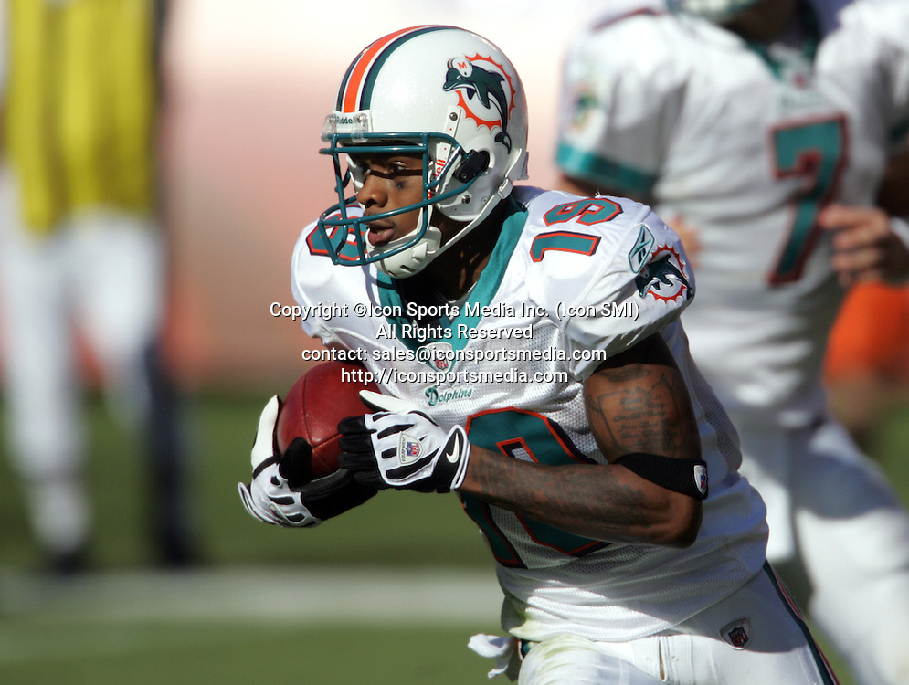 15 NOV 2009:  Ted Ginn Jr. of the Dolphins takes the hand off and runs during the game between the Tampa Bay Buccaneers and the Miami Dolphins at Landshark Stadium in Miami Gardens, FL.  The Dolphins defeated the Buccaneers by the score of 25 to 23.