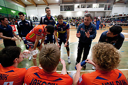 Igor Kolakovic with his players during volleyball match between ACH Volley Bled and UKO Kropa at final of Slovenian National Championships 2011, on April 27, 2011 in Arena SGTS Radovljica, Slovenia. ACH Volley defeated Kropa 3-0 and became Slovenian National Champion 2011. (Photo By Vid Ponikvar / Sportida.com)