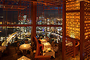 Panoramic night view of Singapore River and Financial District (backgr.) from Equinox restaurant at Swissotel The Stamford.