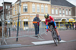 \aneva of Team NL tackles the final corner of Stage 1a of the Healthy Ageing Tour - a 16.9 km time trial, starting and finishing in Leek on April 5, 2017, in Groeningen, Netherlands.