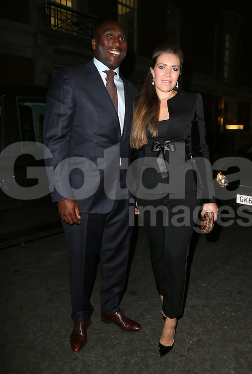 Sol Campbell and wife Fiona Barratt attend the Inspiration Awards for Women at Cadogan Hall in London, UK. 02/10/2014<br />BYLINE MUST READ : GOTCHAIMAGES.COM<br /><br />Copyright by &copy; Gotcha Images Ltd. All rights reserved.<br />Usage of this image is conditional upon the acceptance <br />of Gotcha Images Ltd, terms and conditions available at<br />www.gotchaimages.com