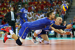 07.09.2014, Krakow Arena, Krakau, POL, FIVB WM, Frankreich vs Belgien, Gruppe D, im Bild Kevin Tillie (FRA), Kevin Le Roux (FRA) // during the FIVB Volleyball Men's World Championships Pool D Match beween France and Belgium at the Krakow Arena in Krakau, Poland on 2014/09/07. <br /> <br /> ***NETHERLANDS ONLY***