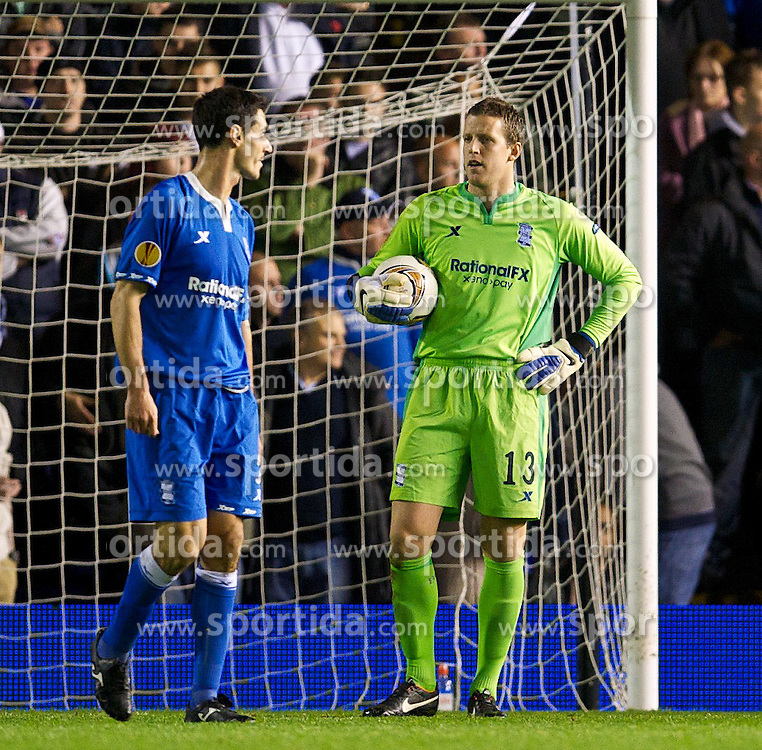 03.11.2011, St. Andrews Stadion, London, ENG, UEFA EL, Gruppe H, Birmingham City (ENG) vs FC Bruegge (BEL), im Bild Birmingham City's goalkeeper Colin Doyle looks dejected as Club Brugge score the second goal // during UEFA Europa League group H match between Birmingham City (ENG) and FC Bruegge (BEL) at St. Andrews , London, United Kingdom on 03/11/2011. EXPA Pictures © 2011, PhotoCredit: EXPA/ Propaganda Photo/ David Rawcliff +++++ ATTENTION - OUT OF ENGLAND/GBR+++++
