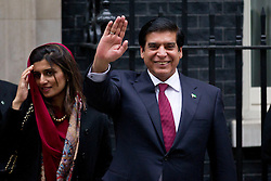 © Licensed to London News Pictures. 12/02/2013. London, UK. The Pakistani Prime Minister Raja Pervaiz Ashraf (R) and the Pakistani Foreign Minister Hina Rabbani Khar (L with head scarf) are seen leaving Number 10 Downing Street after meeting with the British Prime Minister David Cameron in London today (12/02/2013). Photo credit: Matt Cetti-Roberts/LNP