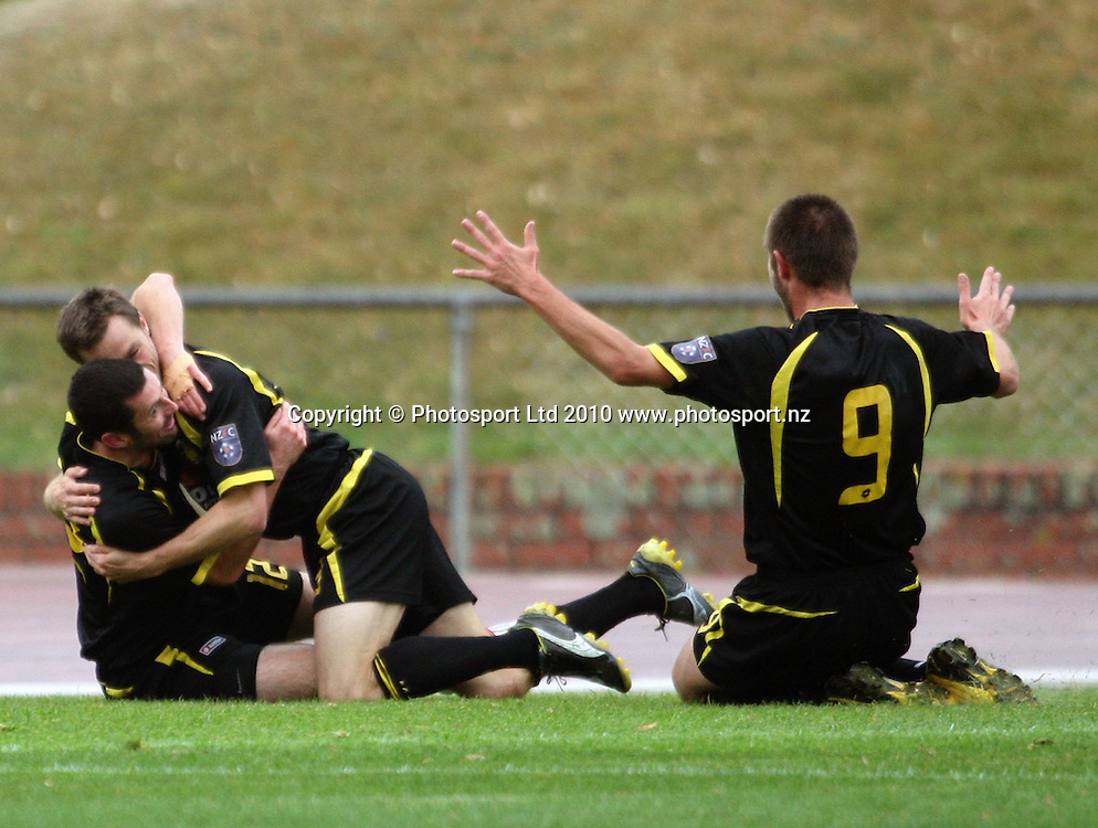 Wellington's Bryan Little and Greg Draper congratulate Andy Barron on his goal.<br /> NZFC soccer  - Team Wellington v Waitakere United at Newtown Park, Wellington. Sunday, 4 April 2010. Photo: Dave Lintott/PHOTOSPORT