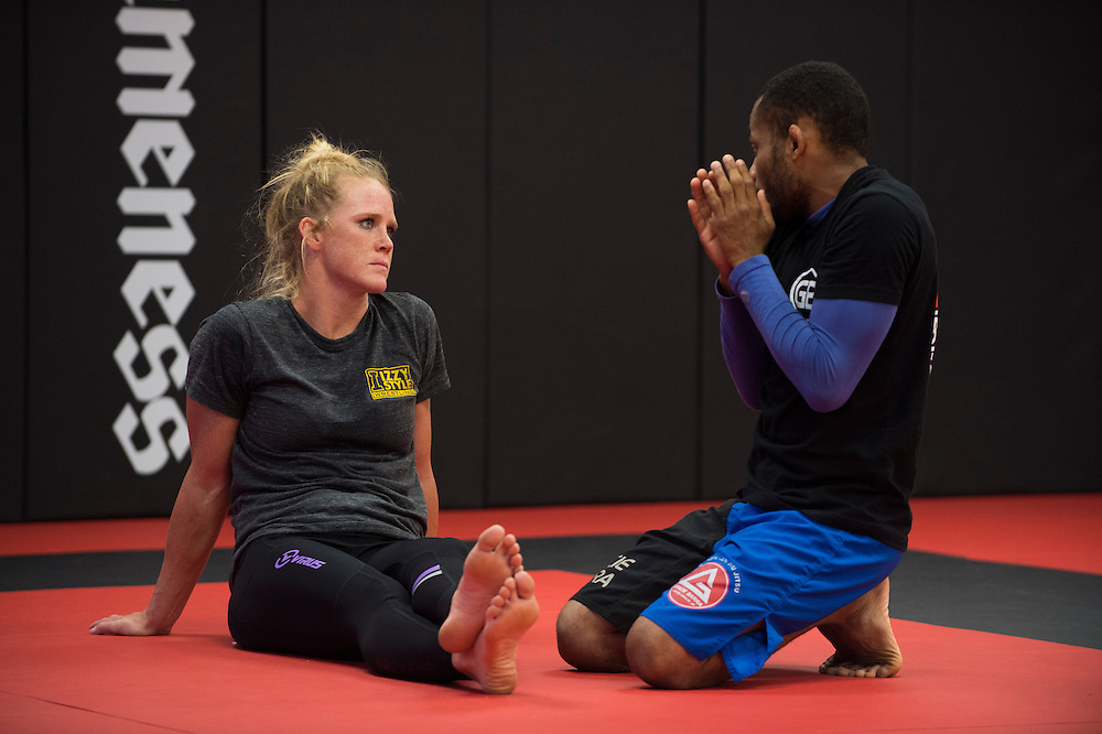 UFC bantamweight Holly Holm of Albuquerque works on her jiu jitsu at Jackson Wink MMA in Albuquerque, New Mexico on June 9, 2016.