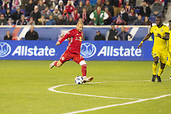 STYLEPREPENDDaniel Royer (77) of Red Bulls shots & scores goal during 2nd leg MLS Cup Eastern Conference semifinal game against Columbus Crew SC at Red Bul Arena Red Bulls won 3 - 0 agregate 3 - 1 and progessed to final  (Credit Image: © Lev Radin/Pacific Press via ZUMA Wire)