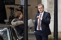 © Licensed to London News Pictures. 15/01/2019. London, UK. Secretary of State for Northern Ireland Julian Smith arrives at The Houses of Parliament. Photo credit: George Cracknell Wright/LNP