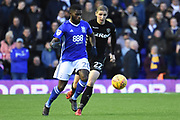 Leeds United midfielder Pawel Cibicki (22) tracks Birmingham City midfielder Jeremie Boga (20) 0-0 during the EFL Sky Bet Championship match between Birmingham City and Leeds United at St Andrews, Birmingham, England on 30 December 2017. Photo by Alan Franklin.