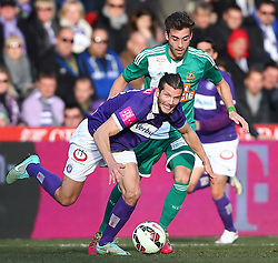 08.03.2015, Generali Arena, Wien, AUT, 1. FBL, FK Austria Wien vs SK Rapid Wien, 24. Runde, im Bild Alexander Gorgon (FK Austria Wien) und Thanos Petsos (SK Rapid Wien) // during Austrian Football Bundesliga Match, 24th Round, between FK Austria Vienna and SK Rapid Wien at the Generali Arena, Vienna, Austria on 2015/03/08. EXPA Pictures © 2015, PhotoCredit: EXPA/ Thomas Haumer