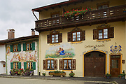 MITTENWALD, GERMANY - SEPTEMBER 01, 2010: Exterior of the traditional old painted houses in Mittenwald, Germany.