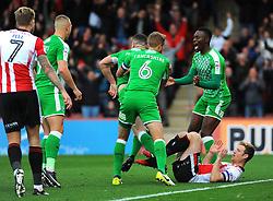 Conor Thomas of Swindon Town score a goal to make it 1-1- Mandatory by-line: Nizaam Jones/JMP - 07/10/2017 - FOOTBALL - LCI Rail Stadium- Cheltenham, England - Cheltenham Town v Swindon Town - Sky Bet League Two