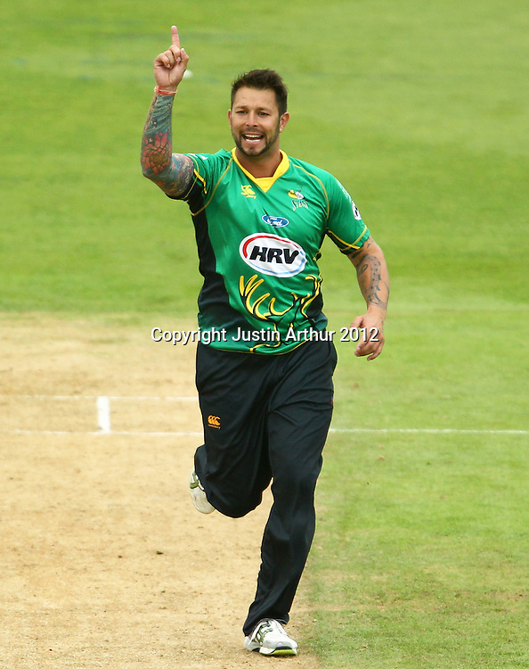 Peter Trego celebrates a wicket during the 2012/2013 HRV Cup Twenty20 session. Wellington Firebirds v Central Stags at the Basin Reserve, Wellington, New Zealand on Wednesday 26 December 2012. Photo: Justin Arthur / photosport.co.nz
