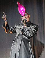 LONDON - JUNE 17: Grace Jones performs at Lovebox, Victoria Park, London, UK. June 17, 2012. (Photo by Richard Goldschmidt)