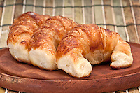 Close-up of croissants, use of selective focus.
