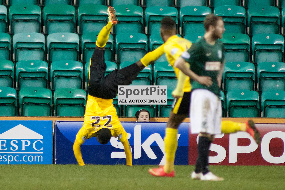 Ibra Sekajja celebrates scoring an equaliser to level the game before Hibs scored a second in the Hibernian v Livingston Scottish Championship league match at Easter Road, Edinburgh. 11 March 2015<br />