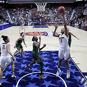 Morgan Tuck, UConn, scores two points during the UConn Huskies Vs USF Bulls 2016 American Athletic Conference Championships Final. Mohegan Sun Arena, Uncasville, Connecticut, USA. 7th March 2016. Photo Tim Clayton