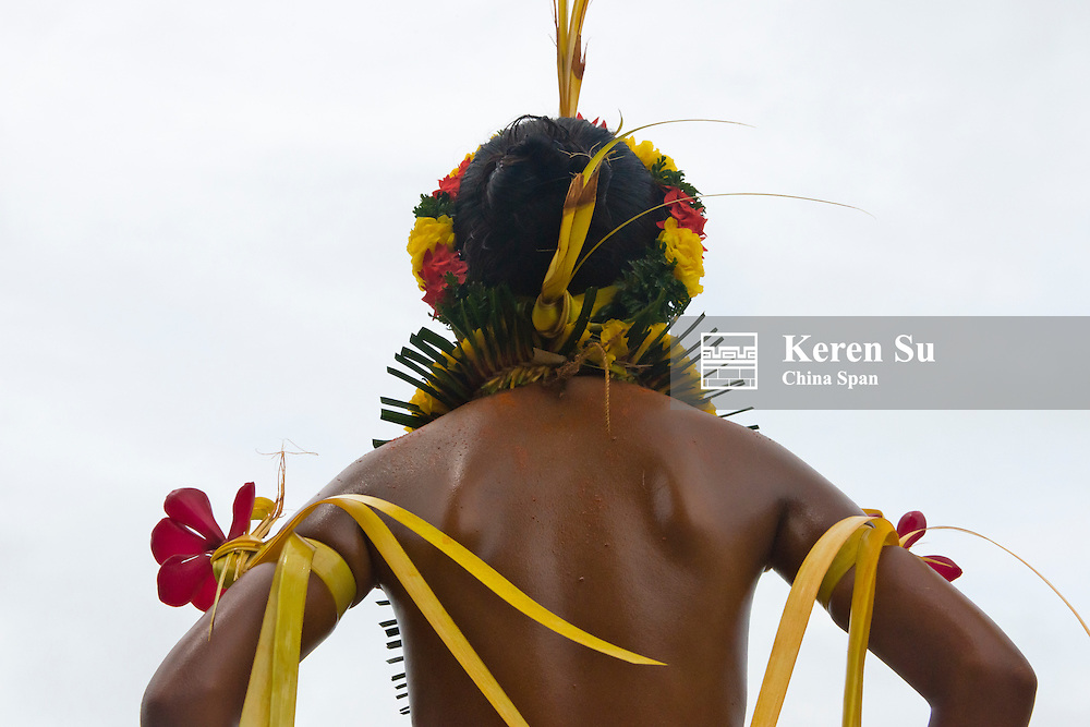 Yapese man in traditional clothing at Yap Day Festival, Yap Island, Federated States of Micronesia