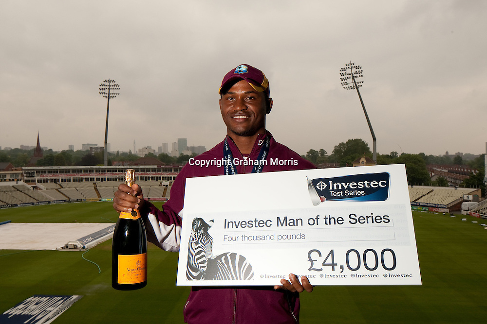Player of the Series, West Indies' Marlon Samuels, after drawing the Investec Test Match against England at Edgbaston, Birmingham. Photo: Graham Morris (Tel: +44(0)20 8969 4192 Email: sales@cricketpix.com) 11/06/12