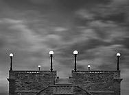Classical architecture, Rooftop lights under twilight skies at Ault Park in Cincinnati Ohio, USA
