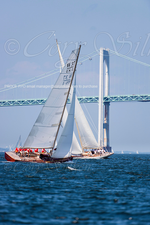 Race Horse, W Class, sailing in the Museum of Yachting Classic Yacht Regatta, day one.