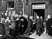 New Taoiseach, Sean Lemass, elected .23/06/1959 ..Seán Francis Lemass (15 July 1899 - 11 May 1971) was one of the most prominent Irish politicians of the 20th century. He served as Taoiseach (Prime Minister) from 1959 until 1966..A veteran of the 1916 Easter Rising, the War of Independence and the Civil War, Lemass was first elected as a Sinn Féin Teachta Dála (TD) for the Dublin South constituency in a by-election on 18 November 1924 and was returned at each election until the constituency was abolished in 1948, when he was re-elected for Dublin South-Central until his retirement in 1969. He was a founder-member of Fianna Fáil in 1926, and served as Minister for Industry and Commerce, Minister for Supplies and Tánaiste in successive Fianna Fáil governments..Lemass is widely regarded as the father of modern Ireland, primarily due to his efforts in facilitating industrial growth, bringing foreign direct investment into the country, and forging permanent links between Ireland and the European community.