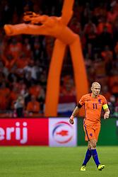 10-10-2017 NED: WK kwalificatie Nederland - Zweden, Amsterdam<br /> Oranje heeft Zweden met 2-0 verslagen. Het moest met zeven doelpunten verschil halen om nog kans te maken op plaatsing voor het WK. / Arjen Robben #11 of Netherlands