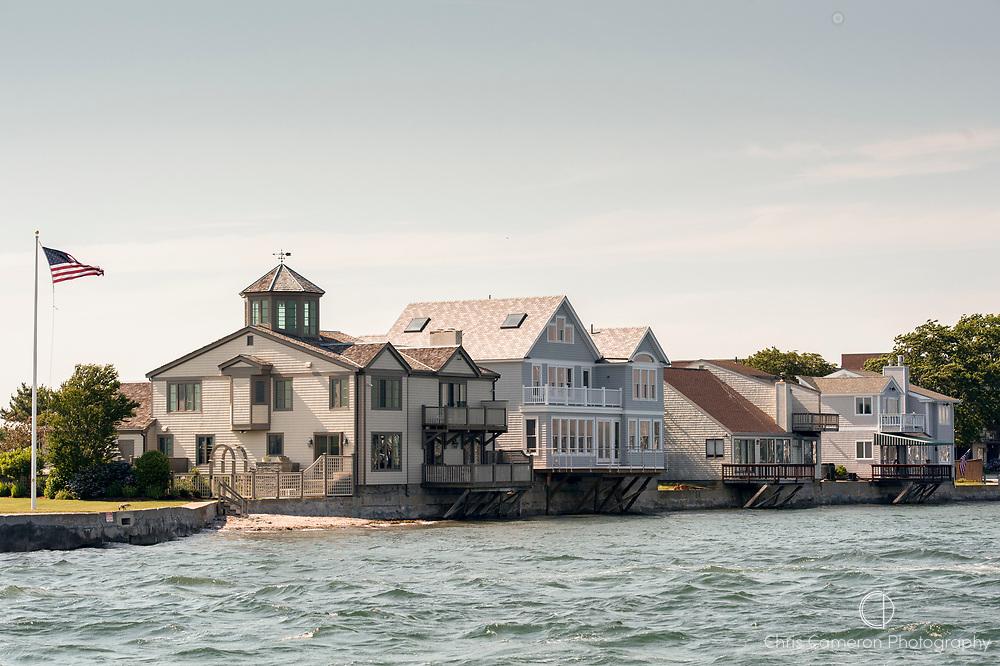 Waterside homes in Newport Rhode Island. USA