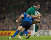Cardiff, Wales, Great Britain, Cian HEALY breaking through, Guilhem GUIRADO cahallenge, during the Pool D game, France vs Ireland.  2015 Rugby World Cup,  Venue, Millennium Stadium, Cardiff. Wales   Sunday  11/10/2015.   [Mandatory Credit; Peter Spurrier/Intersport-images]