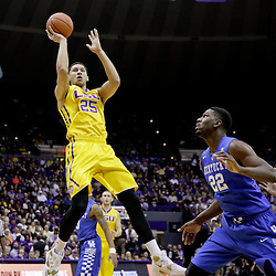 Jan 5, 2016; Baton Rouge, LA, USA; LSU Tigers forward Ben Simmons (25) shoots over Kentucky Wildcats forward Alex Poythress (22) during the first half of a game at the Pete Maravich Assembly Center. Mandatory Credit: Derick E. Hingle-USA TODAY Sports